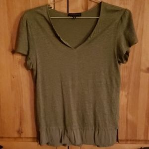 Sanctuary Olive Green Layered Look Linen Top